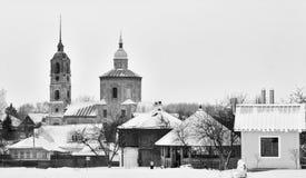Russische Dorfstadtrände Schwarzweiss Stockfoto
