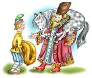 Russische edele mens en zijn bediende in traditionele middeleeuwse kleren Stock Foto's