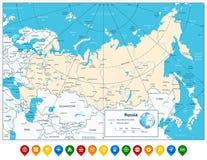 Russische Federatie gedetailleerde kaart en kleurrijke kaartwijzers Royalty-vrije Stock Afbeeldingen