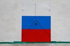 Russische Flagge auf Tür Lizenzfreie Stockfotos