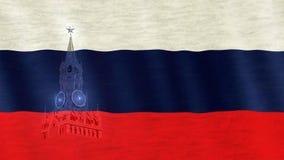 Russische Flagge durchgebrannt im Wind Spasskaya-Stadtschattenbild an der Seite Stockbild