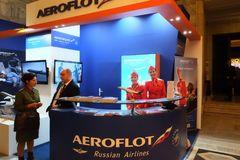 Russische Fluglinienausstellung Aeroflots an TT Warschau 2017 Lizenzfreies Stockfoto