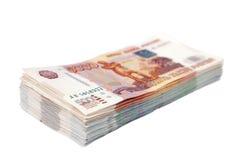 Russische geld 1000 en 5000 roebels Royalty-vrije Stock Afbeeldingen