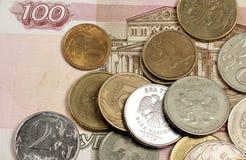 Russische Geldanmerkung und -kleinigkeit Lizenzfreie Stockbilder