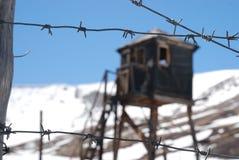 Russische gevangenis, gevangenis, altai, prikkeldraad Royalty-vrije Stock Foto's