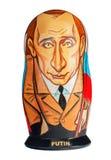 Russische herinnering, houten matryoshka Putin Stock Foto's