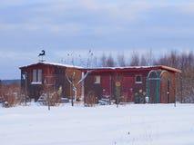 Russische het blokhuisdacha van het land Stock Fotografie