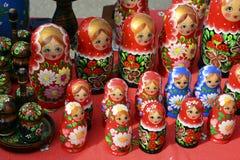 Russische het nestelen poppen, Herinneringen van Rusland, Royalty-vrije Stock Foto's