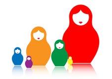 Russische het nestelen poppenmatrioshka, plaatste kleurrijk geïsoleerd pictogramsymbool van Rusland, Stock Fotografie