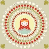 Russische het portretdruk van poppenmatryoshka in rond kader - vlakke vectorillustratie Stock Foto's