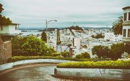 Russische Heuvel op Lombard Straat, San Francisco, Californië - de V.S. Royalty-vrije Stock Afbeelding