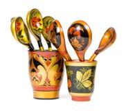 Russische houten lepels Stock Afbeeldingen