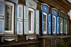 Russische houten vensters royalty-vrije stock afbeelding