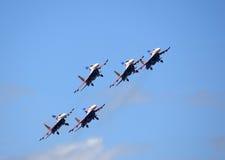 Russische Kämpfer im Himmel Stockfotos