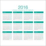 Russische Kalendervector 2016 Stock Afbeelding