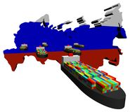 Russische Kartenmarkierungsfahne mit Lieferungen Stockfotos
