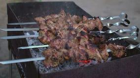 Russische Kaukasische keukenkebab die op de grill voorbereidingen treffen stock videobeelden
