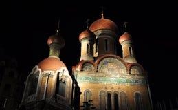 Russische kerk bij nacht Royalty-vrije Stock Afbeeldingen