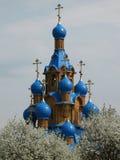 Russische kerk en kers-bomen in bloesem stock afbeeldingen