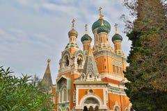 Russische Kerk in Nice Stock Foto's