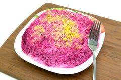 Russische keuken: Saladeharingen onder bontjas in een plaat op Cu Stock Foto