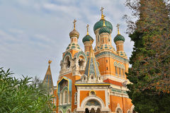 Russische Kirche in Nizza Stockfotos