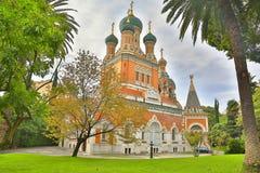 Russische Kirche in Nizza Stockfotos