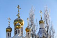 Russische Kuppel der orthodoxen Kirche Stockbild