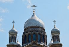 Russische Kuppeln der orthodoxen Kirche Stockbild
