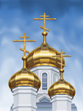 Russische Kuppeln der orthodoxen Kirche Stockfotografie