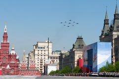 Russische Luchtmacht 5 Sukhoi Su 27 Russische Ridders en 4 Mikoyan Mig 29 Strizhi Royalty-vrije Stock Afbeelding