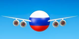 Russische luchtvaartlijnen en flying& x27; s, vluchten aan het concept van Rusland 3d ren Stock Afbeelding