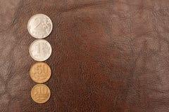 Russische Münzen (Rubel) liegen auf einem ledernen Hintergrund Lizenzfreie Stockfotografie