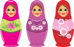 Russische matryoshka Puppen getrennt auf dem Weiß Stockfotos