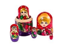 Russische matryoshka Puppen lokalisiert auf weißem Hintergrund Stockbild