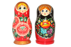 Russische matryoshkapop op witte achtergrond Stock Fotografie
