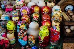 Russische matryoshkapoppen Stock Foto