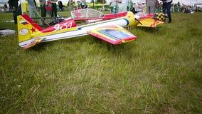 Russische Meisterschaft im Sportflugzeugmodellieren stock footage