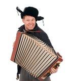 Russische mens met harmonika stock afbeelding