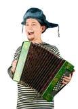 Russische mens met harmonika. stock afbeeldingen
