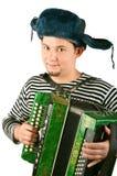 Russische mens met harmonika. royalty-vrije stock afbeelding