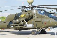 Russische Militärhubschrauber an der internationalen Ausstellung Lizenzfreie Stockfotos