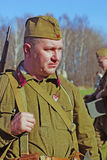 Russische militair-reenactor Royalty-vrije Stock Afbeeldingen