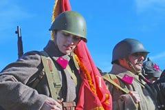 Russische militair-reenactors Stock Afbeeldingen
