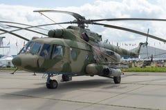 Russische militaire helikopters bij de internationale tentoonstelling royalty-vrije stock fotografie