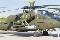 Russische militaire helikopters bij de internationale tentoonstelling Royalty-vrije Stock Foto's