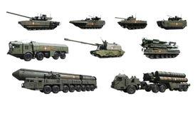 Russische militaire uitrusting die aan de parade op Rood vierkant in Moskou deelnemen om de Overwinning in groot Patriottisch w t Royalty-vrije Stock Foto's