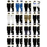 Russische militaire uniformen van zeelieden en zeeambtenaren Stock Foto