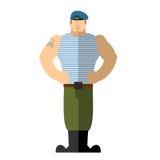 Russische Militairen Militaire mens in t-shirt en blauwe baret Een stro Royalty-vrije Stock Foto's