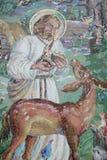 Mosaik auf den Kirchenwand Seraphim von Sarov Stockfotos